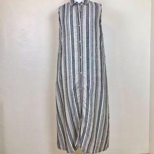 Riva Club dress or duster grey metallic stripe XL